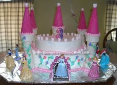 Princess Caroline's Castle Birthday Cake: I made this castle birthday cake for my daughter Caroline's 3rd birthday.  She asked for a princess party and what, princess doesn't deserve a castle cake,