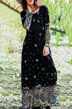 Printed Round Collar Long Sleeve A Line Dress