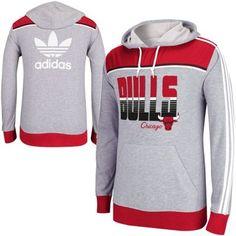 adidas Chicago Bulls Originals Lightweight Pullover Hoodie - Gray/Red