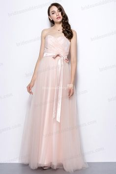 long tulle and lace blush bridesmaid dress