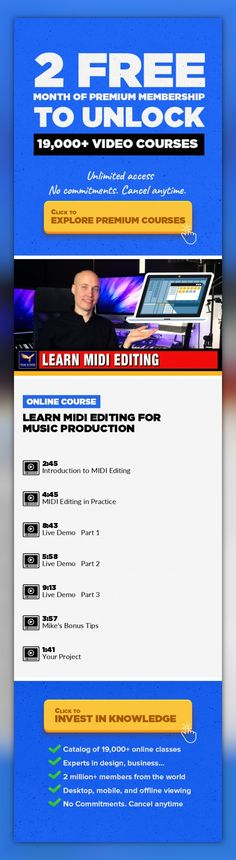 Learn MIDI Editing for Music Production Music Fundamentals, Music Production, Music Technology, Recording, Piano, Creative, Songwriting, Music Composing #onlinecourses #onlinelessonshighschools #socialskills   Learn about MIDI EditingAre you interested in Music Production, Songwriting and Making Music on your computer? Well, then you need to learn about MIDI Editing, and in this class you will do ...