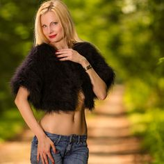 SUPERTANYA Handmade Mohair BLACK Sweater Shrug Fuzzy Sexy Bolero CroppedCardigan #SuperTanya #BoleroShrug #Casual