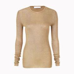 STELLA McCARTNEY, Round neck, Metallic Gold Long Sleeved Top