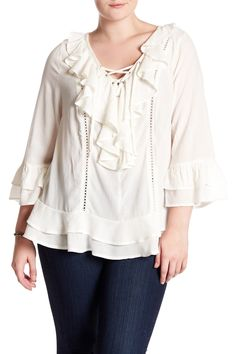 Ruffle Lace-Up Blouse (Plus Size) by Democracy on @nordstrom_rack