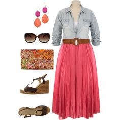 Coral Skirt - Plus Size by alexawebb on Polyvore featuring L'Autre Chose, Laurence Heller, David Aubrey, MANGO, Summer, plus, plussize and size