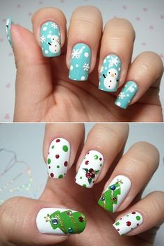 Winter and Christmas themed nails :)