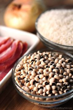 Hoppin John is a traditional southern New Year's Day dish made of black-eyed peas and rice, accented with pork.   shewearsmanyhats.com