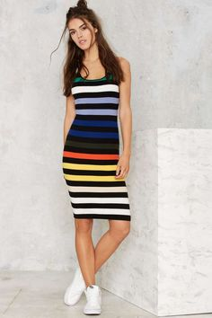 Glamorous Flying Colors Striped Knit Dress - The Swim Shop | Swim Shop | Best Sellers | Day | Basic | Stripes