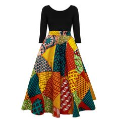 Ivie African Print Midi Circle Skirt (Multi Pattern)
