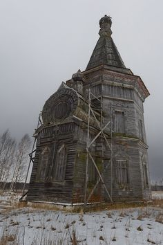 Carved from stone — statues-and-monuments Abandoned Church, Kargopol,...