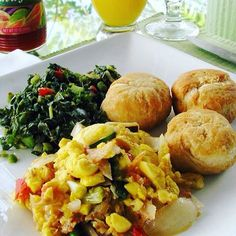 Find out what the locals eat. JAMAICAN Breakfast - fried dumplings with ackee and callaloo. Find out Jamaican Cuisine, Jamaican Dishes, Jamaican Recipes, Carribean Food, Caribbean Recipes, Jamaican Breakfast, Puerto Rico, Jamaica Food, Jamaica Jamaica