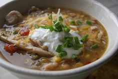 Chili Verde Chicken Chili- delish!    if you like it less spicey use regular canned tomatoes for the tomatoes w/chilis (Rotel)