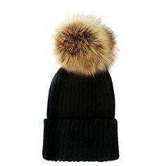 1e8534c056fea Women's Winter Trendy Warm Faux Fur Pom Pom Fashion knit Beanie Hats JM6062  (Black Brown