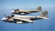 Pair of US Navy Grumman A-6 Intruder all weather attack aircraft.