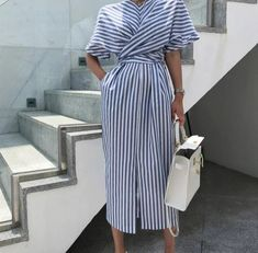 Vintage Striped Dress – Otsys Striped Party Dresses, Striped Dress, Casual Dresses For Women, Sexy Dresses, Beautiful Dresses, Prom Dresses, Summer Dresses, Women's Striped Shorts, Half Sleeve Dresses