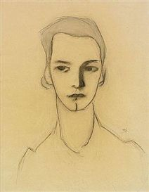 Artwork by Helene Schjerfbeck, Ung kvinna, Made of Mixed media on paper