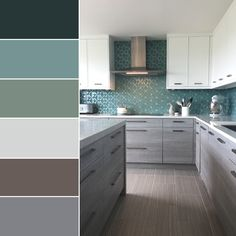 We are loving this green and grey tile color palette. The perfect colors for a calm kitchen. Visit Architectural Ceramics for more tile inspiration. Green Kitchen Walls, Grey Kitchen Cabinets, Kitchen Cabinet Colors, Wall Tiles For Kitchen, Kitchen Grey, Kitchen Color Palettes, Kitchen Colour Schemes, Kitchen Paint Schemes, Interior Modern