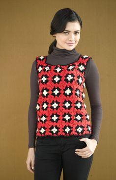 Woodstock Granny Vest (change colors! reverse white and red :-) make longer...