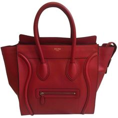 Pre-owned Céline Luggage Leather Tote ($1,799) ❤ liked on Polyvore featuring bags, handbags, tote bags, red, women bags handbags, red tote bag, celine tote, handbags totes, leather hand bags and red leather purse