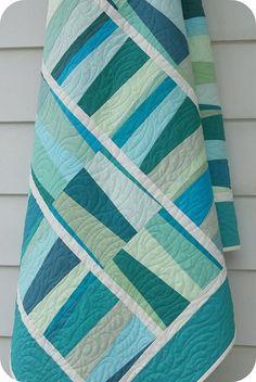 blue-green strip quilt.