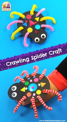 Little ones will love making this cute spider crawl around! It's really easy, and is perfect as a Halloween or Itsy Bitsy Spider activity! #preschool #kindergarten #kidscrafts #halloweencrafts #preschoolcrafts #papercrafts #toddleractivities #itsybitsyspider