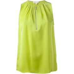Michael Michael Kors Pleated Collar Blouse ($89) ❤ liked on Polyvore featuring tops, blouses, shirts, green, shirts & tops, yellow blouse, green collared shirt, michael michael kors and green top