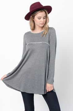 Charcoal Lace Trim Tunic  http://www.caralase.com/lace-trim-tunic/  Long sleeve jersey top with a lace trim by Caralase. Cut in a relaxed + swingy silhouette, finished with a plenty long hem and lace trimming.  #Lacetrimtunic #trimtunic #lacetunic #tunics #tunicsforwomen #longsleevejerseytop #jerseytop #tops #longsleeve #burgundy #black #charcoal #olive #navyblue #navy #cool #caralase #fashion #newarrivals #cute #best #latest #womens #ladies #girls #ootd #trendy #lifestyle #cheap
