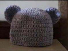 Crochet Baby to Adult Size Beanie with Bear Ears