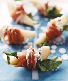 Pears With Blue Cheese and Prosciutto | Recipes for party-worthy appetizers that take 20 minutes or less from start to finish.