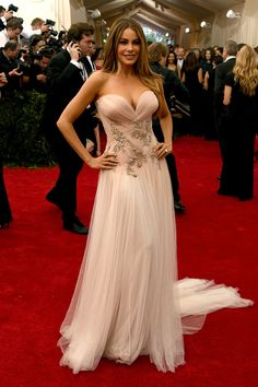 OK.. I VOTE YES FOR THIS DRESS. It may not be edgy enough for the @MetGala but it is sheer perfection in my eyes!   Sofia Vergara in a Marchesa dress and Lorraine Schwartz earrings