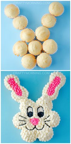 Pull Apart Easter Bunny Cupcake Cake - Such a fun dessert to make with the kids! Crafty Morning