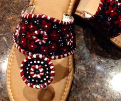 Jack Rogers inspired sandals that are hand painted in garnet black and white. Perfect for Gameday !!