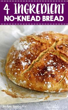 Amazing 4 ingredient no knead bread! This super easy artisan bread recipe is so quick to prepare with no kneading required! Leave it to rise overnight and then cook it in a dutch oven for fresh bread perfection! Recipes With Yeast, Artisan Bread Recipes, Knead Bread Recipe, No Knead Bread, Crockpot Recipes, Cooking Recipes, Lunch Recipes, Savoury Recipes, Party Recipes