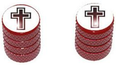 """Amazon.com : (2 Count) Cool and Custom """"Diamond Etching Christian Cross Top with Easy Grip Texture"""" Tire Wheel Rim Air Valve Stem Dust Cap Seal Made of Genuine Anodized Aluminum Metal {Red and White Colors} : Sports & Outdoors"""