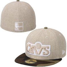 Cleveland Cavaliers New Era Hardwood Classics Heathered Two-Tone 59FIFTY Fitted Hat - Natural/Camo