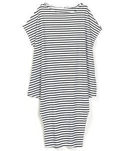Walant Womens Loose Crew Neck Batwing Sleeve Casual Striped Long Irregular Dress - Brought to you by Avarsha.com