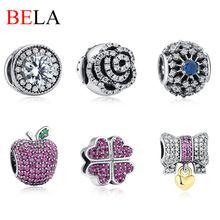 Fit Pandora Charm Bracelet Original font b 925 b font Sterling Silver Flower Apple Knot Heart