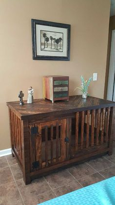 This handmade dog kennel / entertainment center is made from reclaimed wood. The bottom of the kennel is made of MDF so your furry family members wont get splinters. The interior measures 22 deep, 47 1/2 wide by 24 1/2 high. The exterior measures 52 wide by 28 3/4 deep by 30 1/2 tall. The solid back of the kennel is recessed so you can put the Kennel flush to the wall without cramping your cords, or your cords be coming to toys. You also wont see any screws or nails. This helps to maintain…