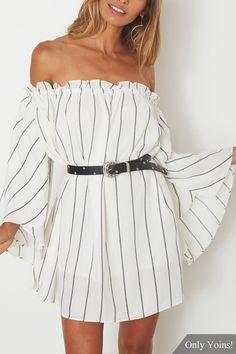 Stripe Off-the-shoulder Bell Sleeves Mini Dress