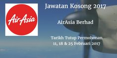 Jawatan Kosong AirAsia Berhad 11 18 & 25 Februari 2017  AirAsia Berhadmencari calon-calon yang sesuai untuk mengisi kekosongan jawatan AirAsia Berhadterkini 2017.  Jawatan Kosong AirAsia Berhad 11 18 & 25 February 2017  Warganegara Malaysia yang berminat bekerja di AirAsia Berhaddan berkelayakan dipelawa untuk memohon sekarang juga. TEMUDUGA TERBUKA AirAsia Berhad TEMUDUGA 1: Tarikh / Hari  :11 February 2017 Tempat :AirAsia OfficeLangkawi International Airport Tarikh / Hari  :18 February…