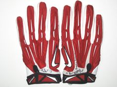 d71186f31fc Jay Bromley New York Giants Game Worn   Signed Red   White Nike 3XL Gloves