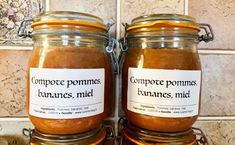 Compote pommes miel bananes (conserves) Marmalade, Plant Based Diet, Candle Jars, Casserole, Salsa, Brunch, Food And Drink, Favorite Recipes, Snacks