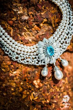 Diamond, Pearl & Turquoise Stone Neck Piece | Photo by The Wedding Salad | Indian Wedding Photography