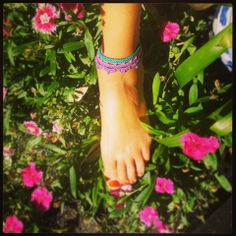 Lotus anklet / bracelet in turquoise, hot pink & purple. 100% cotton ~ Handmade crochet www.facebook.com/thelittlebeenz
