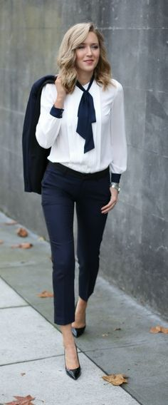 Navy tuxedo pants and jacket + tie neck blouse @tommyhilfiger #tommyhilfiger #spon