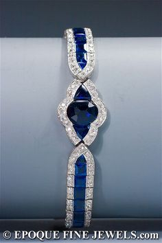 Pretty! Art Deco sapphire and diamond bracelet.