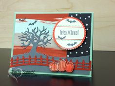 Trick or Treat Halloween card with die cut fence and tree from PattyStamps.com  Halloween Scenes Stampin Up! bundle meets August Bold Botanicals Paper Pumpkin kit, by Patty Bennett