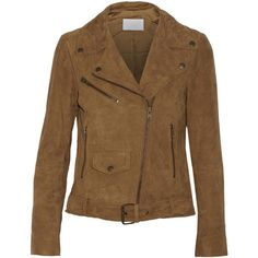 W118 by Walter Baker Vera suede jacket (405 CAD) ❤ liked on Polyvore featuring outerwear, jackets, tan, asymmetrical zip jacket, brown suede jacket, suede jacket, brown waist belt and w118 by walter baker jacket