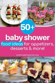 Create the perfect baby shower menu with these 50  baby shower food ideas! Everything from amazing baby shower finger foods, to everything you need for an amazing baby shower dessert table! Create the cutest baby shower treats to go with a delicious baby shower brunch, lunch, or appetizers menu. Check them all out here! #babyshowerfood #babyshowerfoodideas #babyshowerdesserts #babyshower Baby Shower Menu, Baby Shower Treats, Baby Shower Desserts, Baby Shower Brunch, Baby Shower Decorations, Baby Showers, Baby Shower Gifts, All About Pregnancy, Pregnancy Tips
