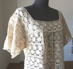 Vintage 60's Crochet Dress, Swim Cover Up, Boho Chic, Beige, Natural, Small to Medium. $42.00, via Etsy.